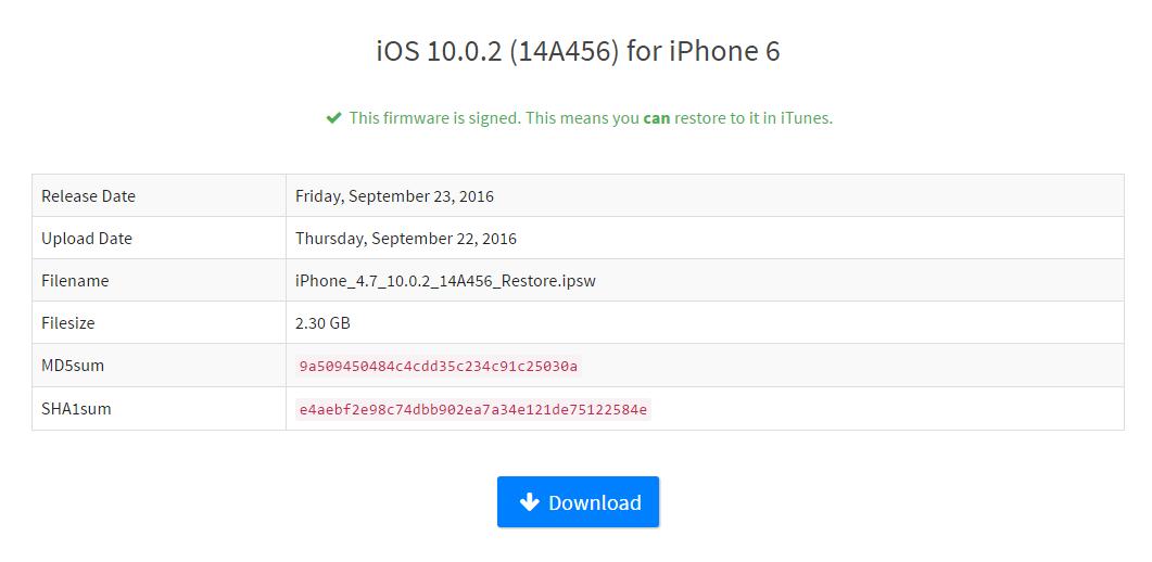 iPhone/iPad用ファームウェアをダウンロード - iOS 10.1からiOS 10.0.2にダウングレード