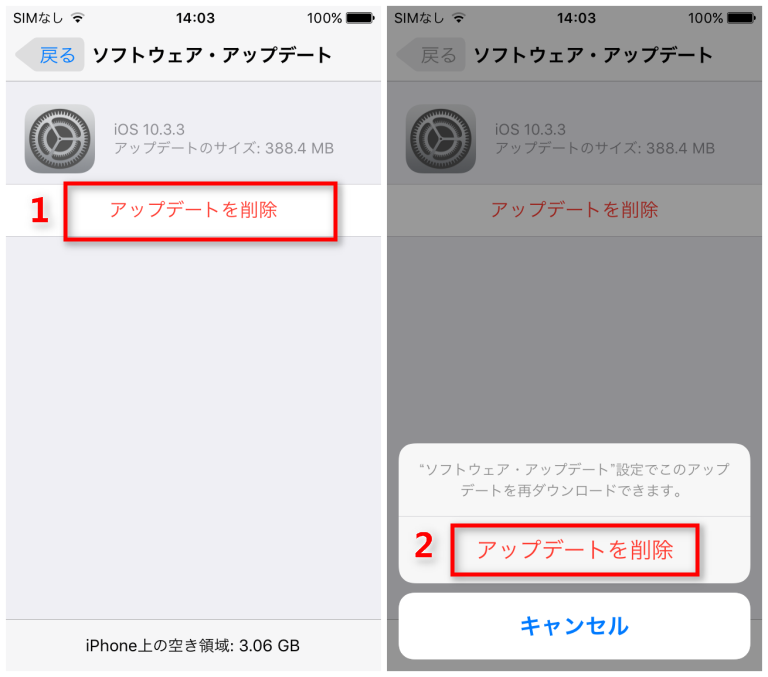 ダウンロード済みのiOSを削除する - Step 2