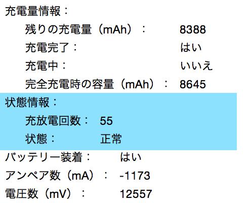 MacBookのバッテリーを長持ちさせる - 充放電回数を確認