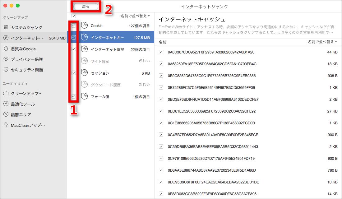 ステップ4:Firefoxのジャンクファイルを選択する