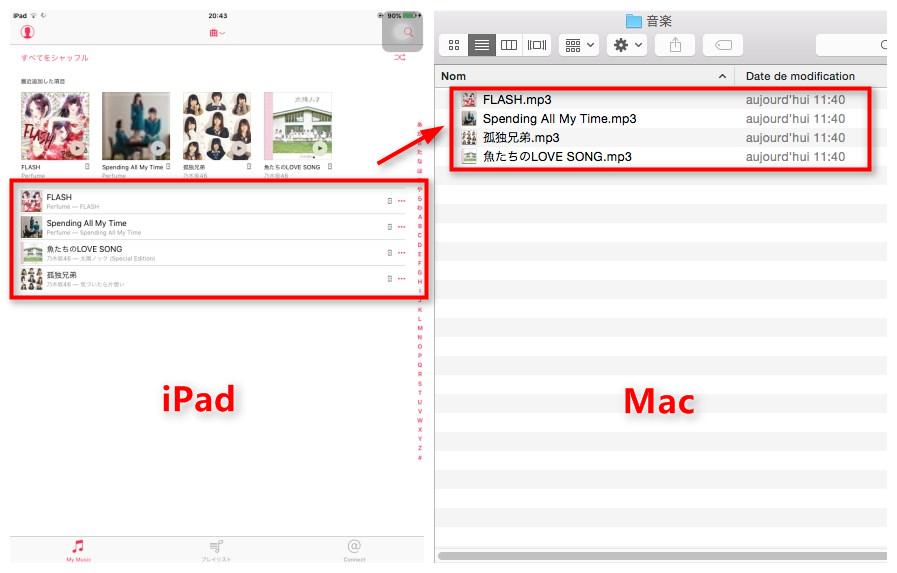 iPadからMacに音楽を転送する