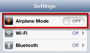 機内モードがオフになっていることを確認