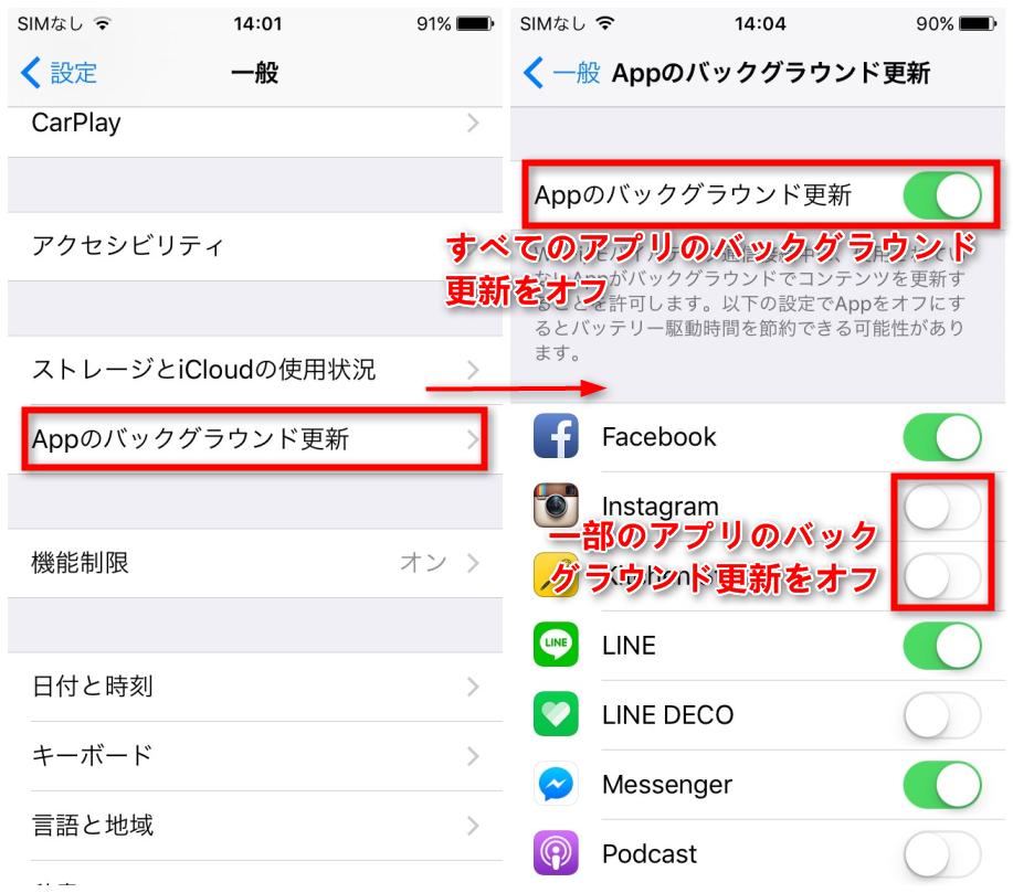 iPhoneで電池の減りが早い場合の対策 - Appのバックグラウンド更新をオフにする
