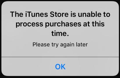 エラー「The iTunes Store is unable to process purchases at this time」の解決策