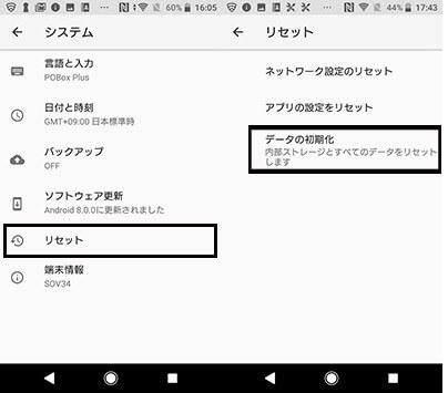 写真元: pc-koubou.jp -「データの初期化」を選択