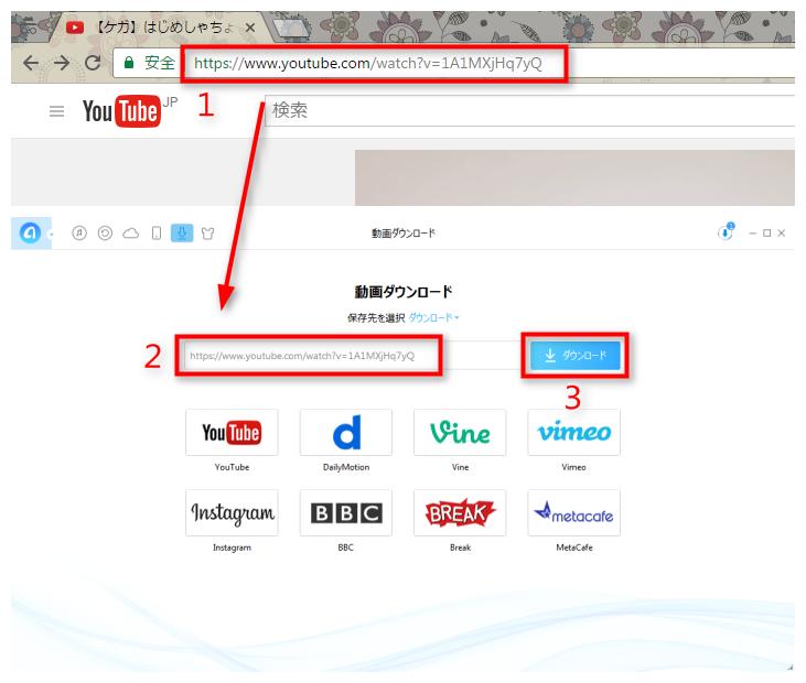 ステップ2 YouTubeから動画のURLをコピー&ペーストする