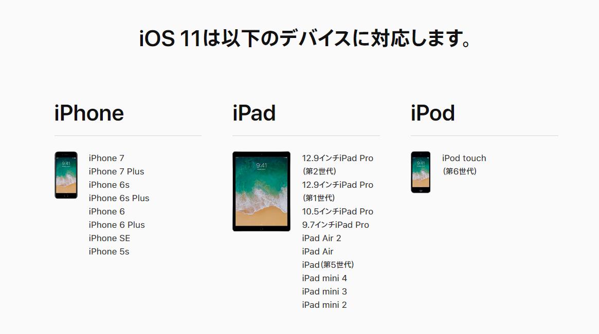 iOS 11にアップデートする前の注意点 - iOS 11の対応デバイスを確認する
