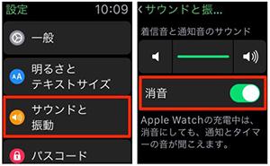 Apple Watchの設定アプリから消音する