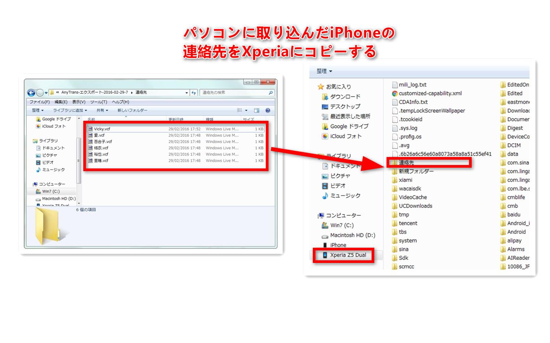 ステップ4-連絡先ファイルをSony Xperiaにコピーする