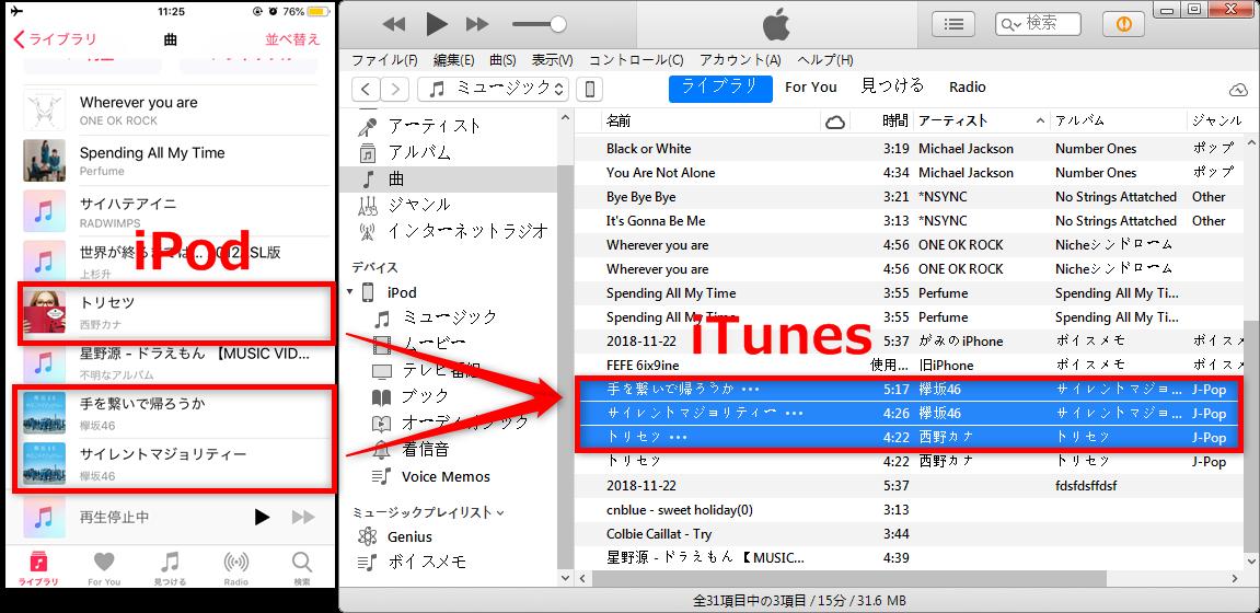 iPodからiTunesに曲を移す方法 – iTunesで確認